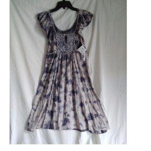 RxB Short Cotton Tie Dye Dress w Braided Trim  NWT